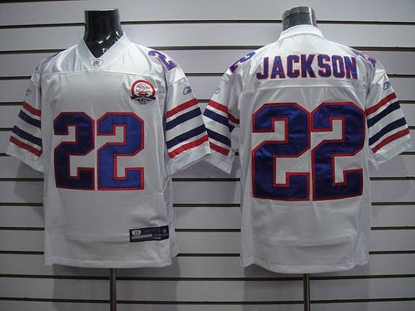 Bills #22 Fred Jackson White AFL 50th Anniversary Patch Stitched Throwback NFL Jersey