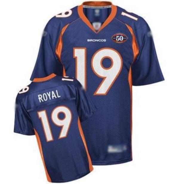 Broncos #19 Eddie Royal Blue Team 50th Anniversary Patch Stitched ...