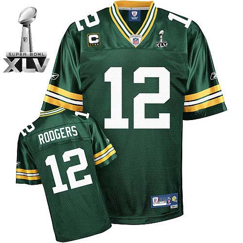 Packers #12 Aaron Rodgers Green With Super Bowl XLV and C patch ...