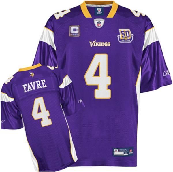 Vikings #4 Brett Favre Purple(C Patch) Team 50TH Patch Stitched NFL Jersey