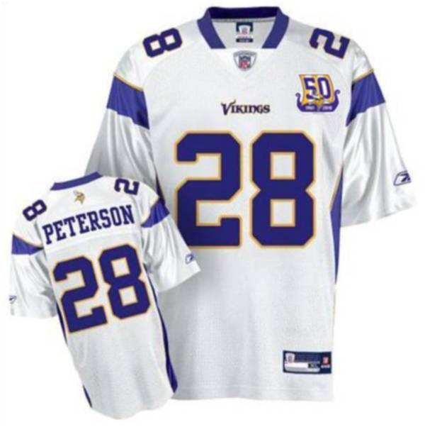 Vikings #28 Adrian Peterson White Team 50TH Patch Stitched NFL Jersey