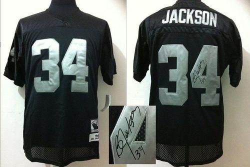 Mitchell And Ness Autographed Raiders #34 Bo Jackson Black ...